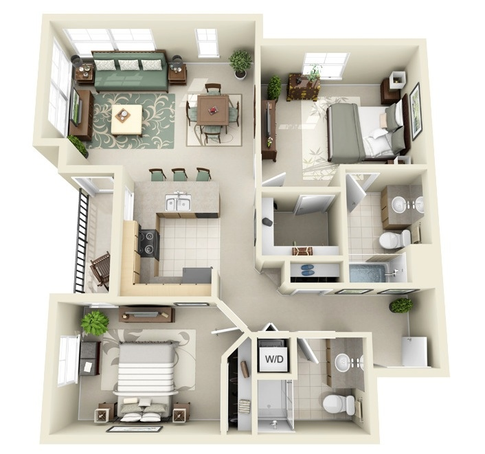 2 bedroom apartment house plans for Apartment design 3d