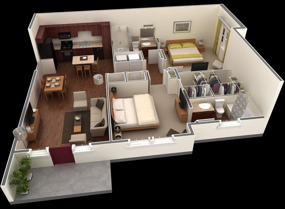 2 bedroom apartment house plans for Bedroom layout ideas