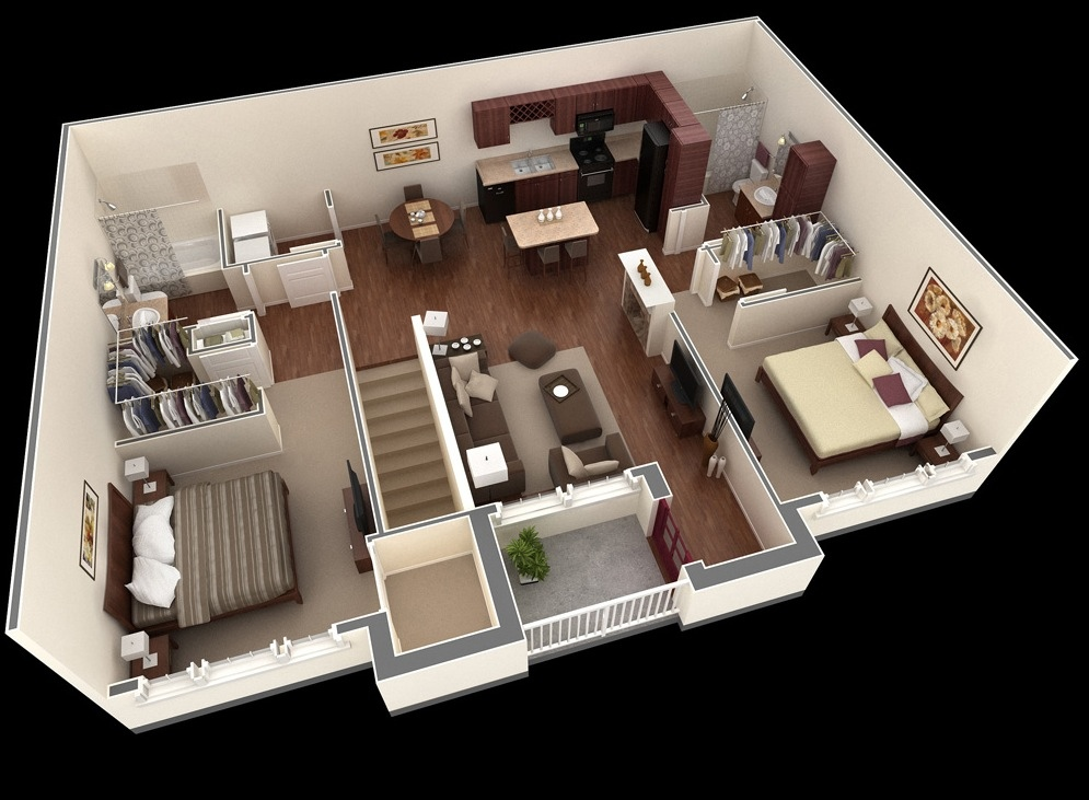 Springs Apartment Two Bedroom Plan - 43+ Small House One Room Kitchen Design Plan PNG