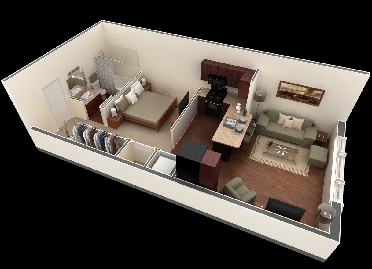 Studio apartment floor plans for 3d apartment design
