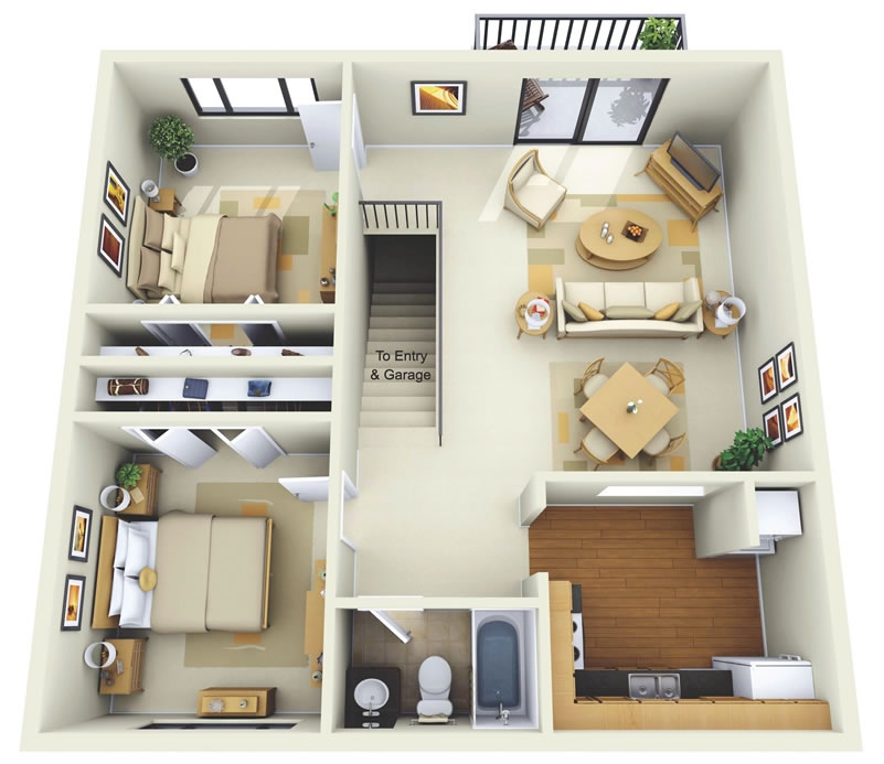 Simple House Plan With 2 Bedrooms 3d 2 bedroom apartment/house plans