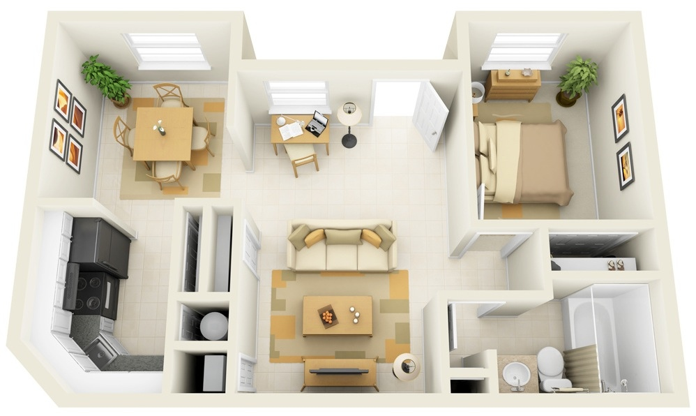 One Bedroom Apartment Design Amazing 1 Bedroom Apartmenthouse Plans Decorating Design