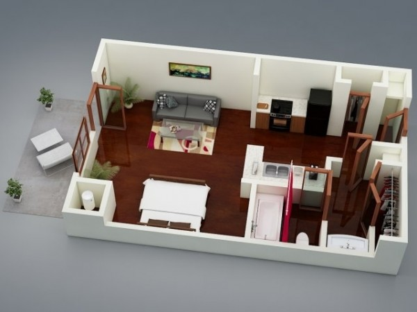 50 studio type single room house lay out and interior design for Studio apartment design 3d