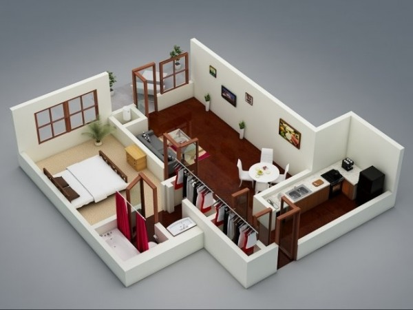 1 bedroom apartment house plans for Cute one bedroom apartment ideas