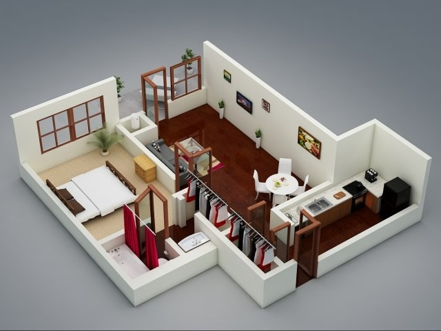 1 bedroom apartment house plans smiuchin for Modern 1 bedroom apartments