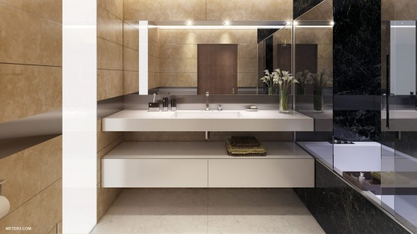 The bathroom is done in luxurious marble, with mirrors to create an illusion of even more space. Plenty of storage for amenities and a bath and shower that disappears into the wall for a completely seamless look.