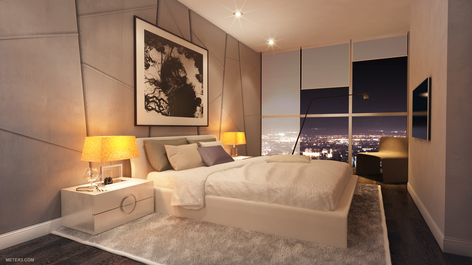 Smoking hot penthouse interior designs visualized for Bedroom decorative accessories