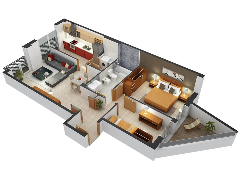 Small Flat Plan 2 bedroom apartment/house plans
