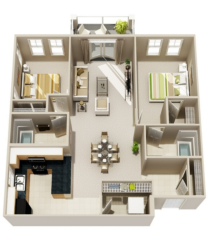 2 bedroom apartment house plans for Two storage house designs