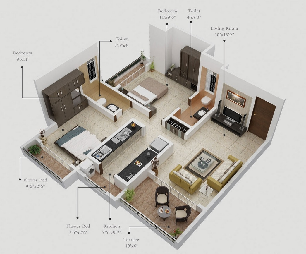 2 bedroom apartment house plans for Apartment floor plan