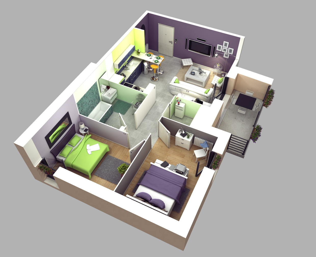 2 bedroom apartmenthouse plans - Simple House Plan With 2 Bedrooms