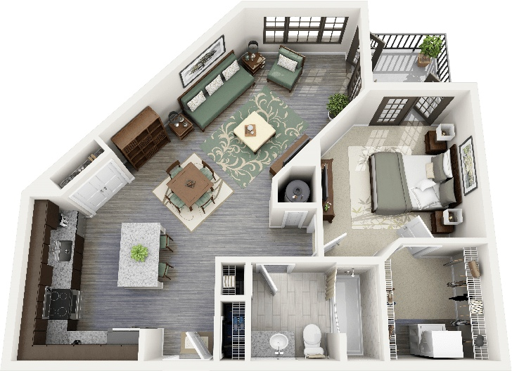 1 bedroom apartment house plans for Apartment floor plans