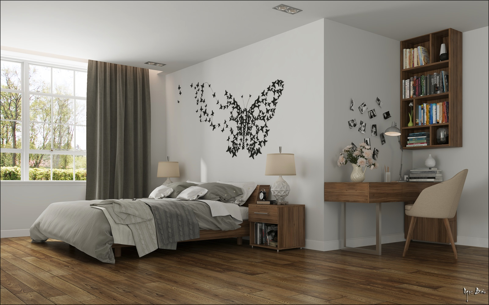 Bedroom butterfly wall art interior design ideas - Amenagement petite chambre adulte ...