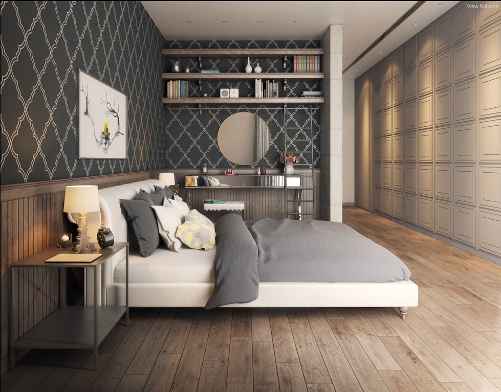 25 newest bedrooms that we are in love with for Dark grey bedroom wallpaper