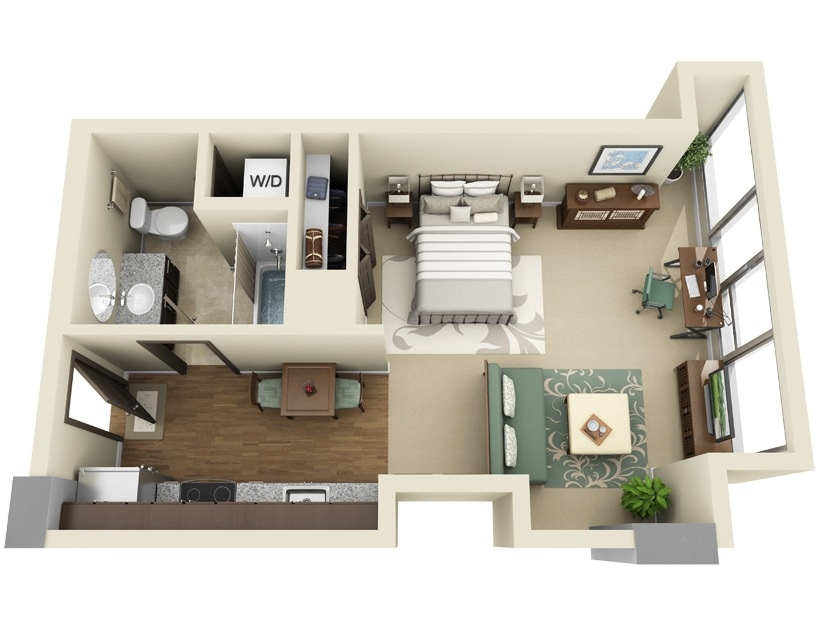 Studio apartment floor plans Efficiency apartment floor plan