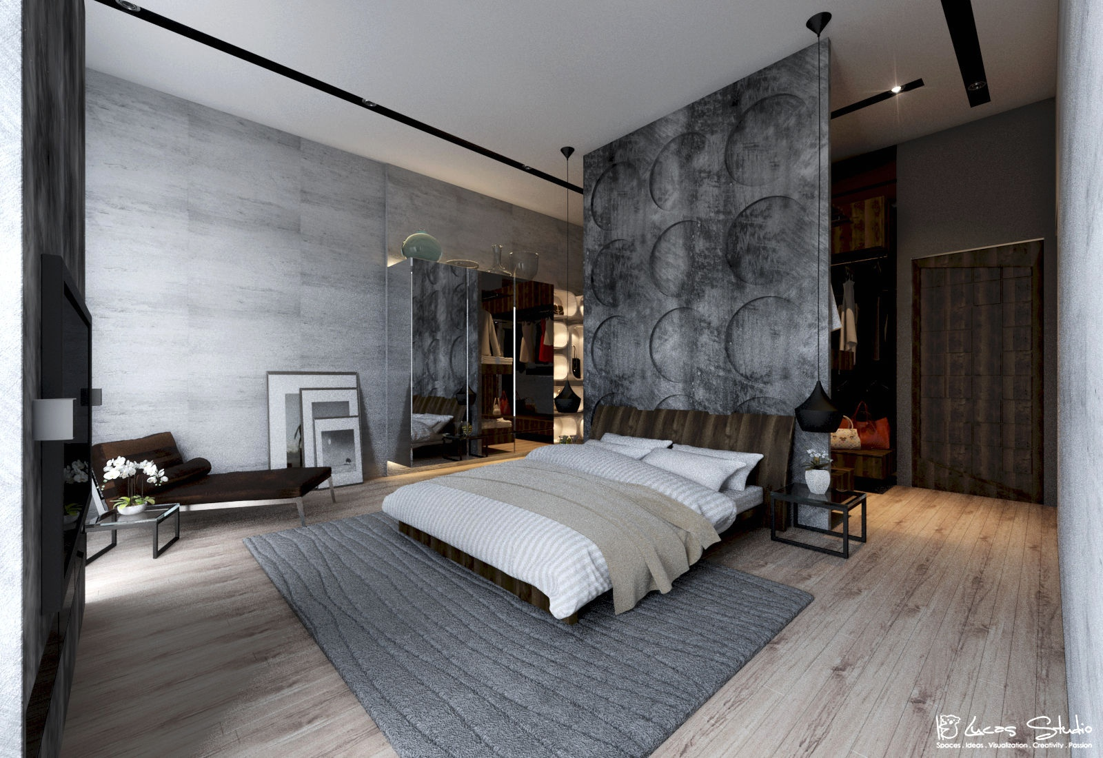 Exposed concrete wall bedroom interior design ideas - Chambre adulte design ...