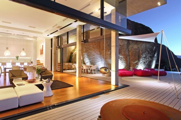 indoor and outdoor open living area