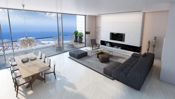 living room sea view