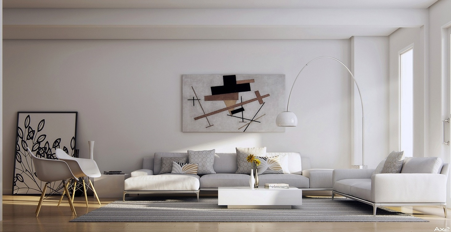 25 tasteful living rooms for Interior wall art