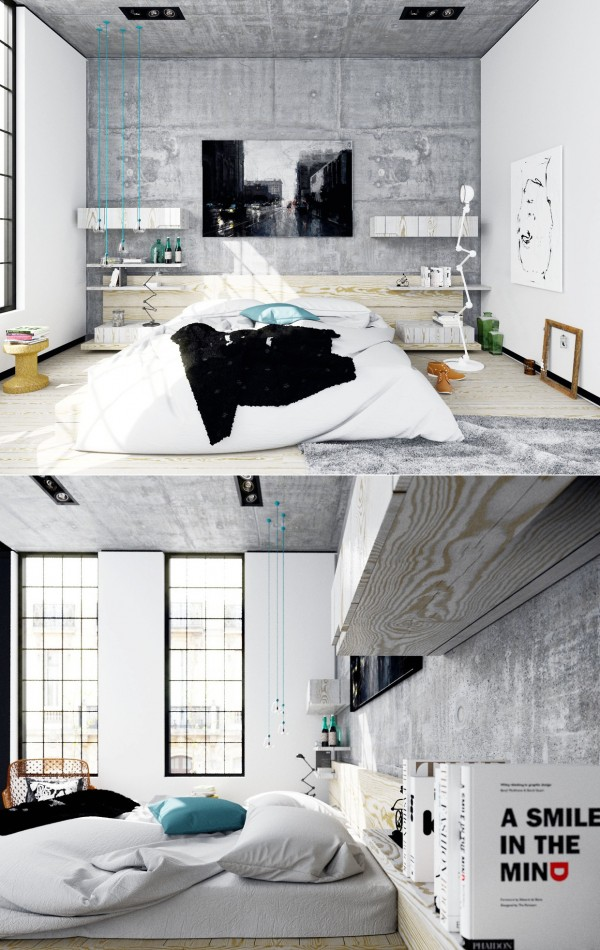 The raw look of this loft is tempting. We can imagine an artist living here.