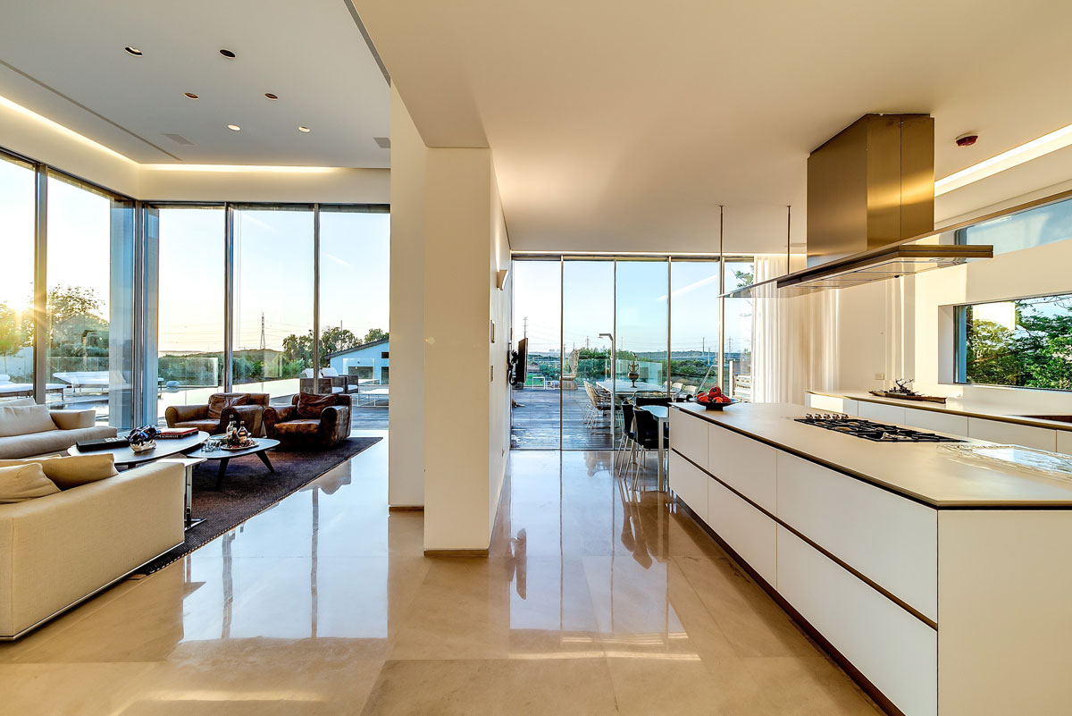 Modern luxury villas designed by gal marom architects - Modern kitchen with island ...