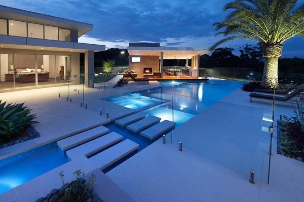 modern pool and exterior