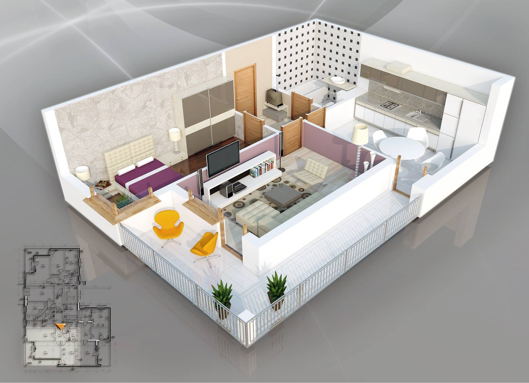 floor plan give this one bedroom one bathroom apartment a sense of