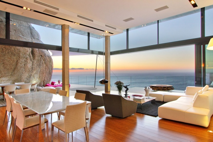 Open Concept Dining Living Space - Breathtaking villa incorporating boulders in its design