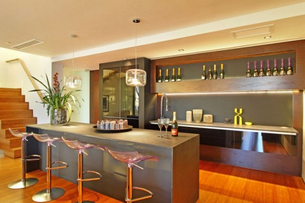 open kitchen bar space