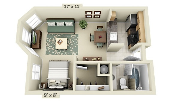 Studio apartment floor plans for Small apartment design floor plan