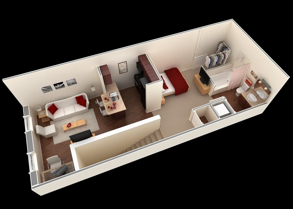 Studio apartment floor plans for Departamentos alargados