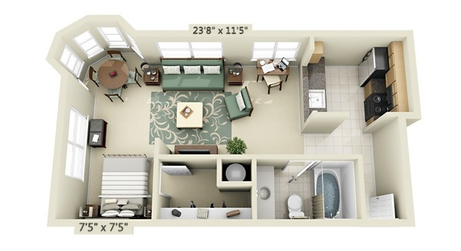Studio apartment floor plans for Appartement design plan