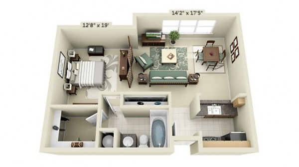 studio apartment floor plans. Black Bedroom Furniture Sets. Home Design Ideas