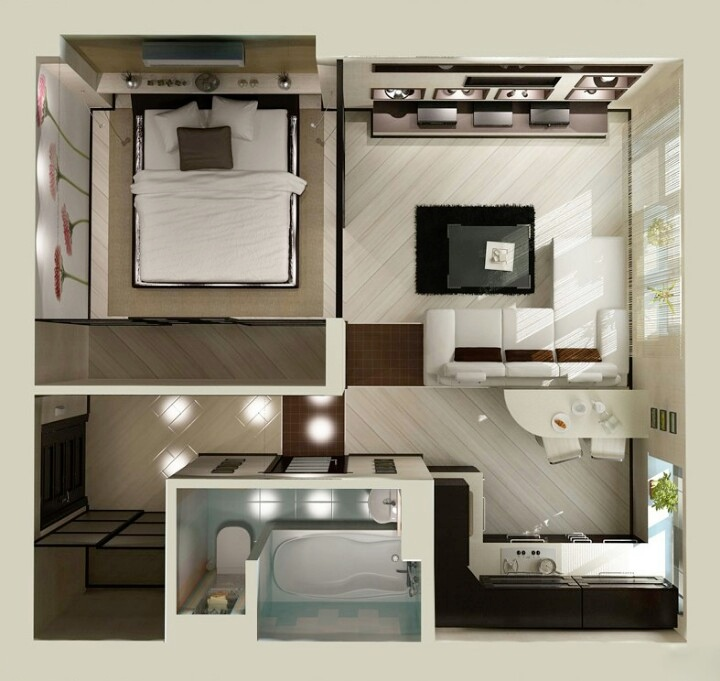 studio apartment floor plans - One Bedroom House Interior Design