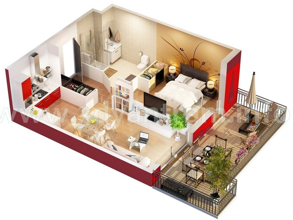 Studio apartment floor plan interior design ideas for Studio home designs