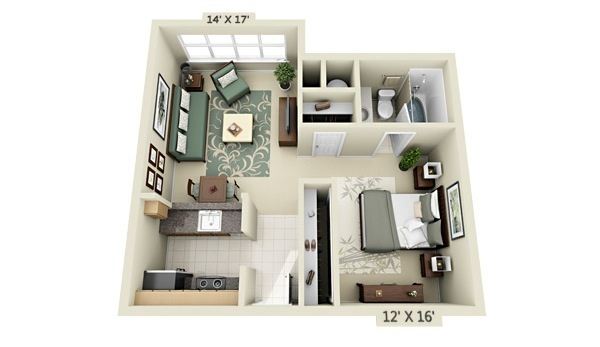 studio apartment floor plans - 2br Open Floor House Plans