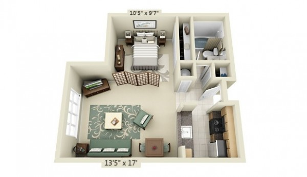 Studio apartment floor plans for Studio apartment furniture arrangement