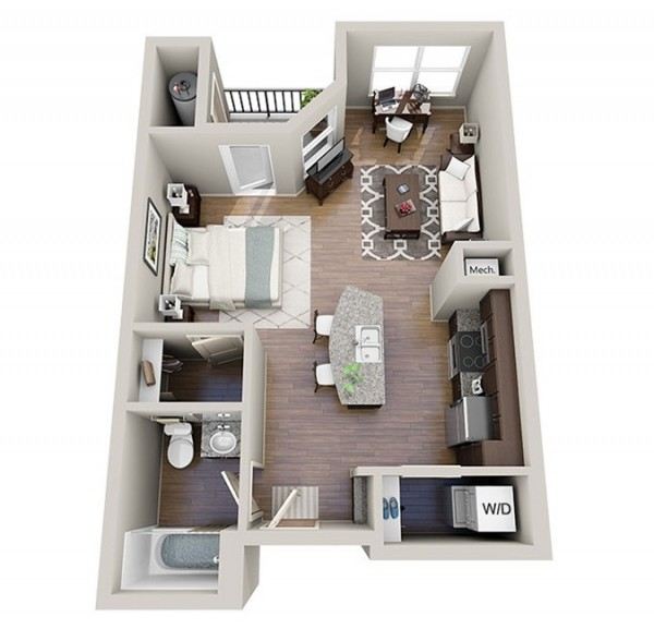Studio apartment floor plans for Small studio apartment space