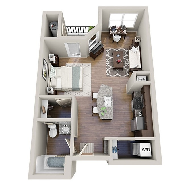 Studio apartment floor plans for Studio apartment furniture layout