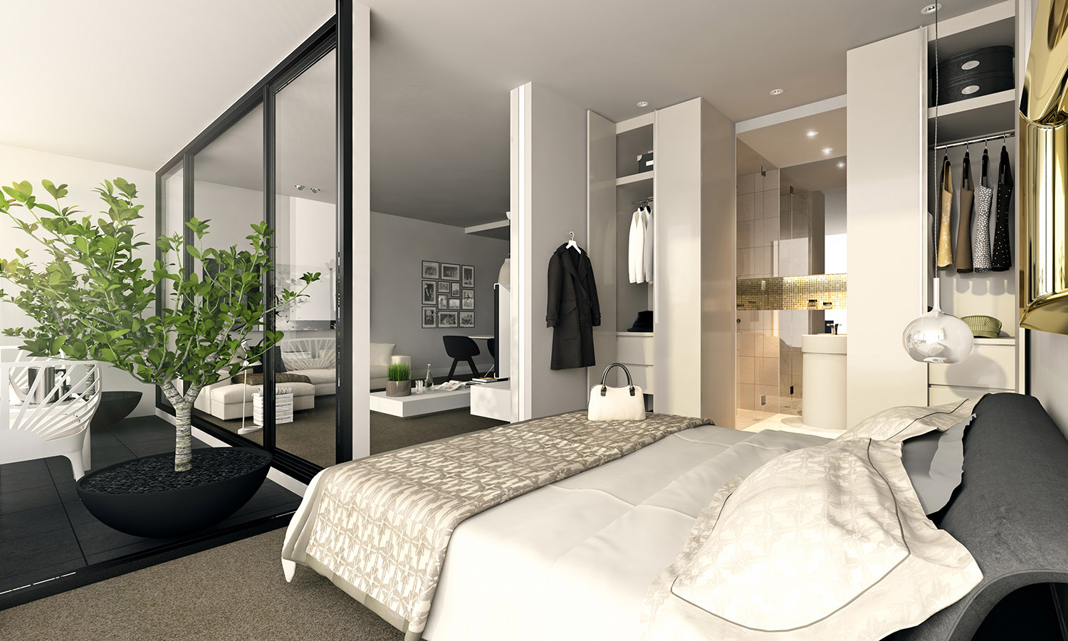 Studio apartment interiors inspiration for Studio bedroom ideas