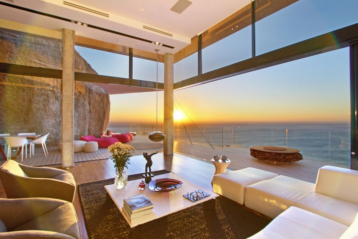 Sunrise Views Open Concept Living Room - Breathtaking villa incorporating boulders in its design