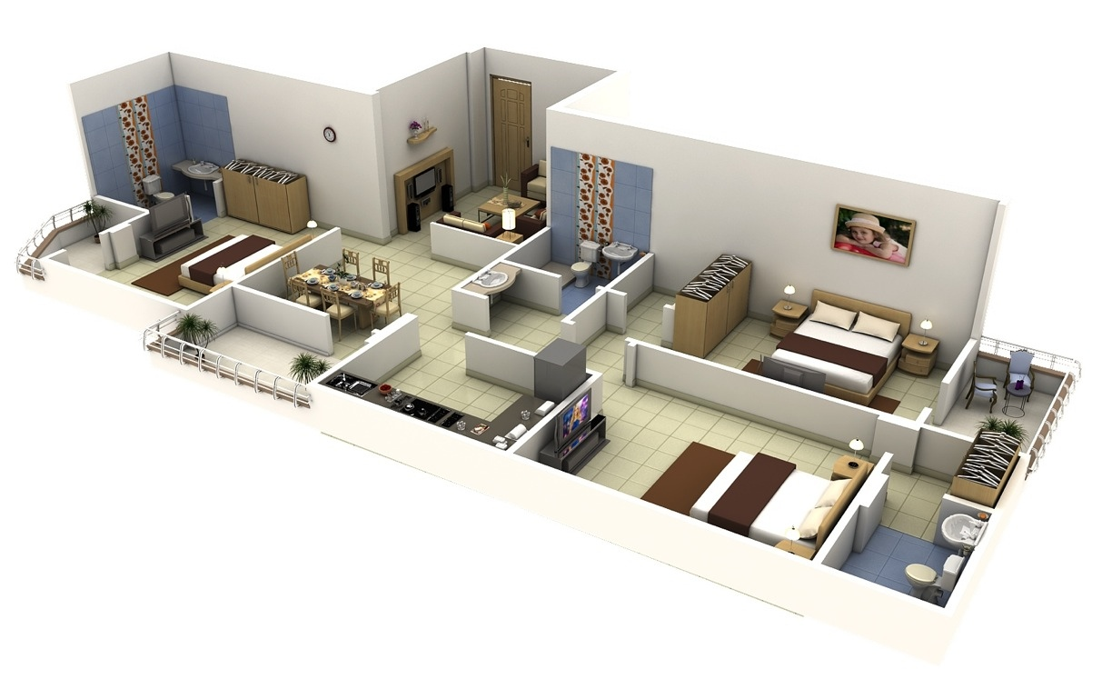 3 bedroom apartmenthouse plans - 3d Home Floor Plan