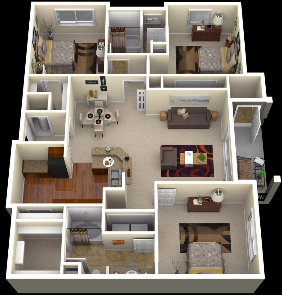 3 Bedroom Apartment Floor Plans 3D 913 x 956