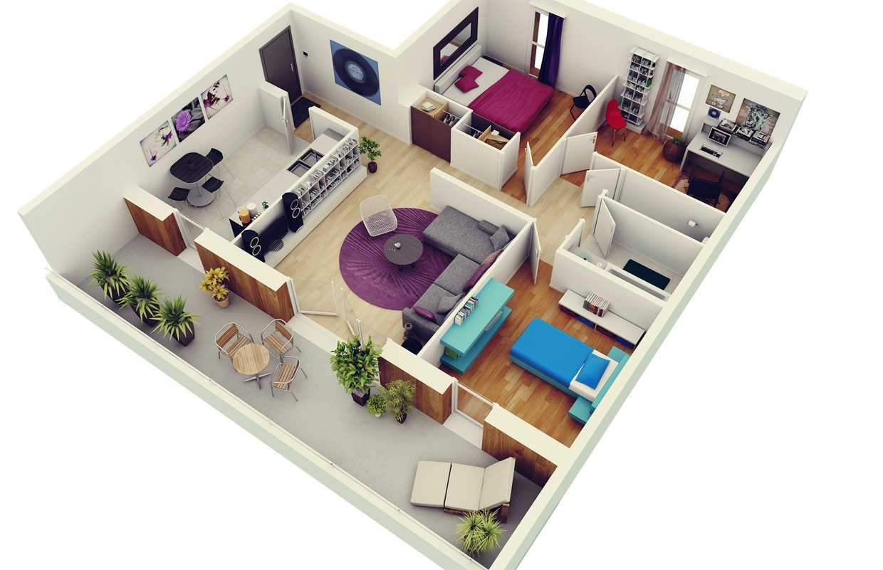 3 bedroom apartment house plans for Design your home online with room visualizer