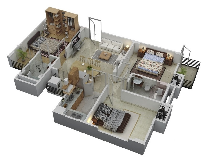 Http Www Home Designing Com 2014 07 3 Bedroom Apartment House 3d Layout Floor Plans
