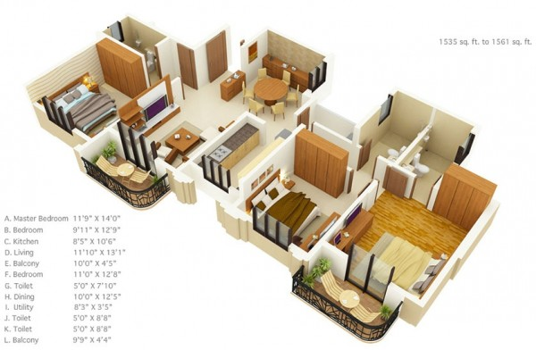 3 bedroom floor plans under 1600 square feet