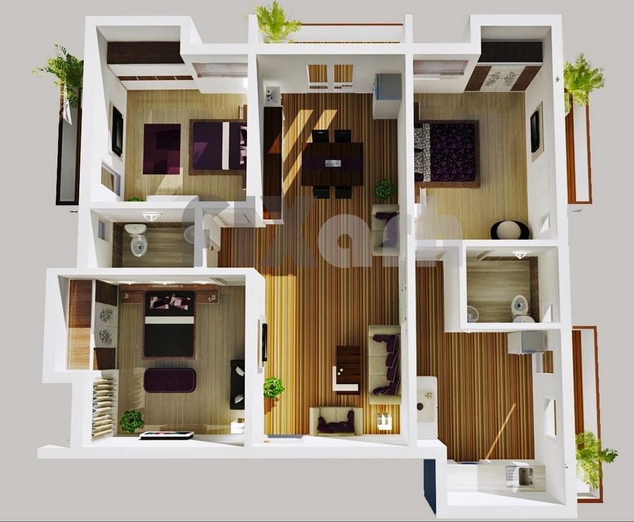 3 bedroom apartment house plans For3 Bed Room Home