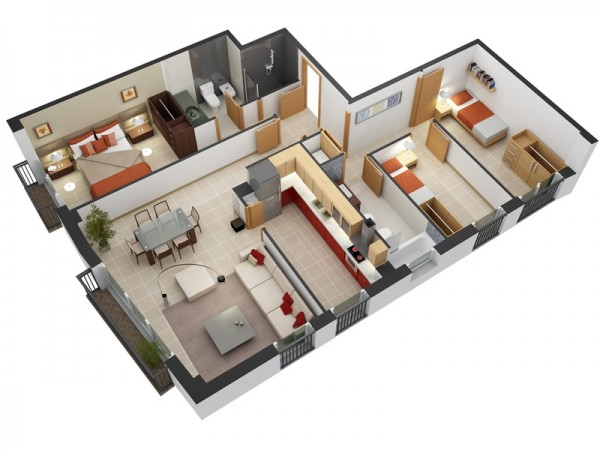 Designeer paul 3 bedroom apartment house plans for Three bedroom flat plan
