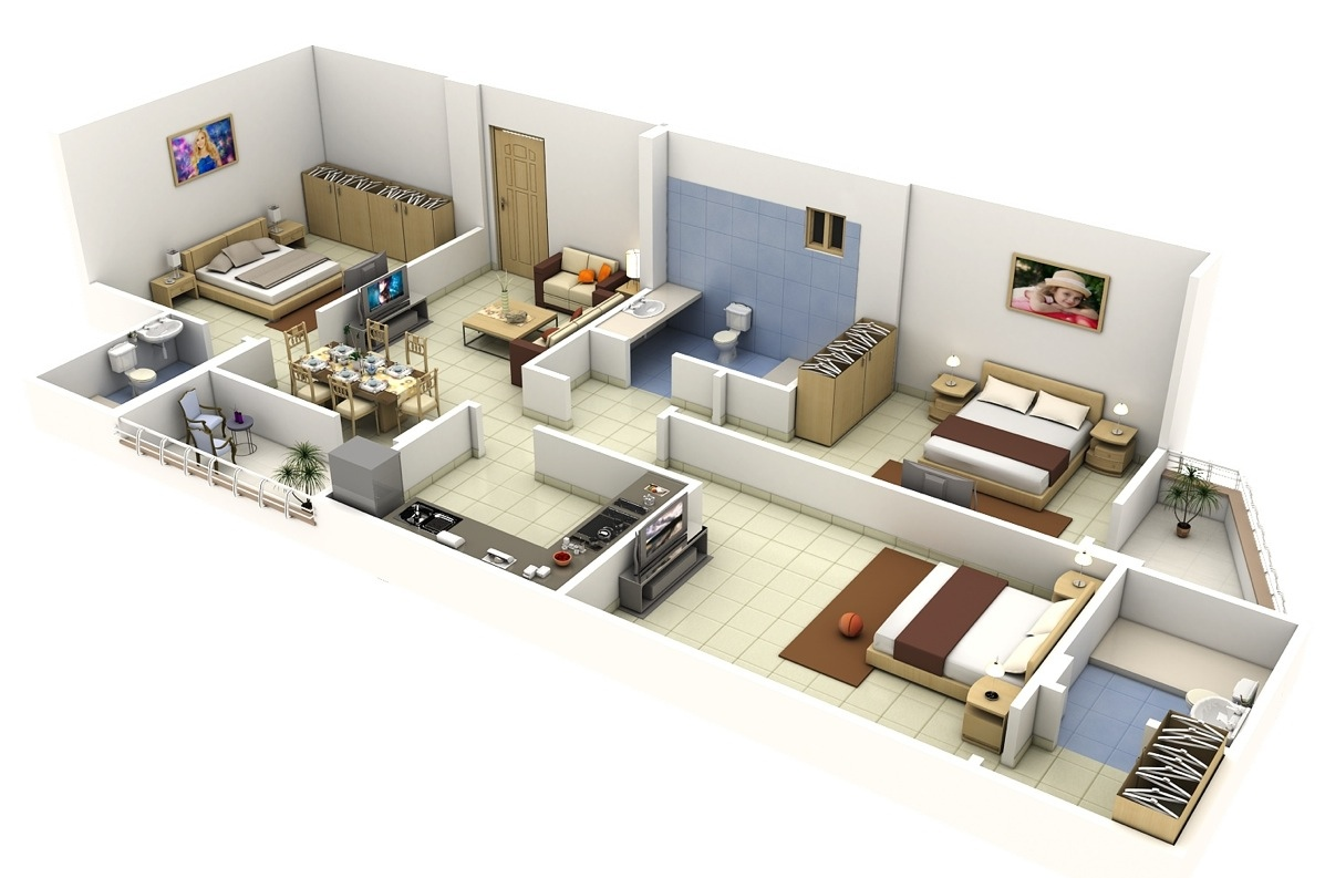 3 bedroom house layouts 1 interior design ideas - Diseno de casas 3d ...