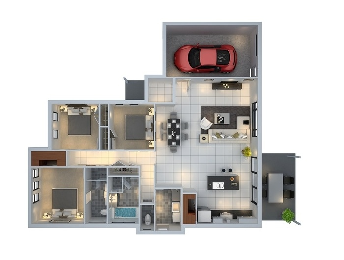 Three Bedroom House Design Pictures Amazing 3Bedroomhousewithgarageplan 700×530  House Plans Inspiration Design